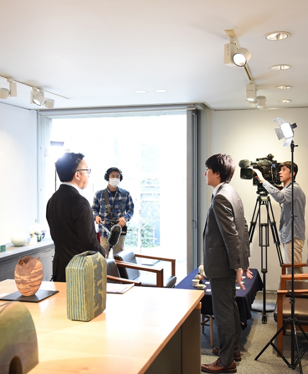 Interview by NHK at Kochukyo Gallery